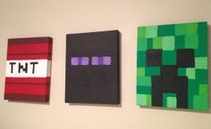 Minecraft Inspired Wall Art for Boys! ( No, Minecraft wall art for anyone who plays Minecraft. Not just boys but girls too. Minecraft Room, Minecraft Crafts, Minecraft Stuff, Painting Minecraft, Minecraft Decoration, Minecraft Birthday Party, Craft Party, Art For Kids, Kids Room
