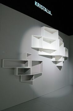 SheLLf: An exquisitely designed modern bookcase, with visually dynamic elements conceive by innovative designer, Ka-Lai Chan. Design Stand, Display Design, Booth Design, Store Design, Banner Design, Muebles Living, Displays, Retail Interior, Retail Space