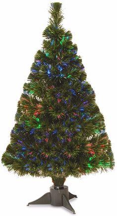 Battery Operated Fiber Optic Ice Christmas Tree with Multicolored LED BUlbs #ChristmasTree #Artificial #Lights #MultiColor #PreLit #FiberOptic #BatteryOperated #Christmas #ChristmasDecor #Holiday #Seasonal #HomeDecor #HolidayDecor
