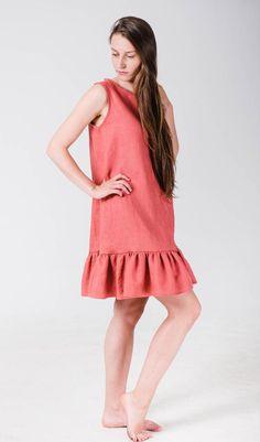 ab2678a757e Linen dress women Pink linen dress Linen ruffle womens