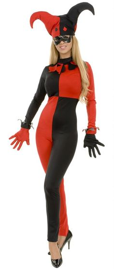 Women's Red/Black Card Jester Jumpsuit Costume - Candy Apple Costumes - Pop Culture Villain Costumes, Adult Costumes, Costumes For Women, Harlequin Costume, Jester Costume, Black Card, Harley Quinn, Lady In Red, Jumpsuit