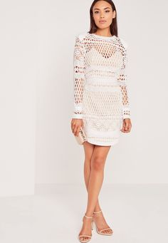 Missguided - Long Sleeve Lace Bodycon Dress White Lace Overlay Dress 434d956b4