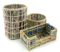 Recycle your newspaper to make office organizers and paper bins!