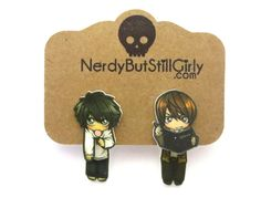 Death Note Inspired Cling Earring by nerdgirlwensi on Etsy Faux Gauges, Note Tattoo, School Boy, Book Fandoms, Death Note, Making Out, Detective, Illusions, Notes