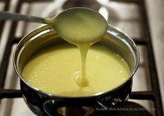 pinner says: Homemade sweetened condensed milk-  1/3 cup boiling water  4 Tbsp. butter  1/2 cup brown sugar  1/2 tsp pure vanilla extract  1 cup powdered milk