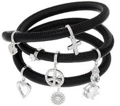 Diamonique Charm Leather Wrap Bracelet, Sterling