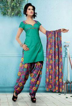 USD 29.08 Green Flower Printed Cotton Salwar Kameez   37521