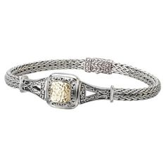 Element Jewelry 925 Silver Hammered Square Bracelet with 18k Gold Accents- 7 IN