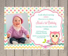 Owl Birthday Invitation - First Birthday, Girl, Teal, Pink, Orange, Chevron, Polka Dots, 1st, 2nd, 3rd, 4th, Party, Kids Birthday- 262 on Etsy, $13.00