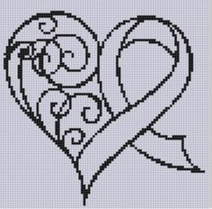 Awareness Ribbon Heart Cross Stitch Patt