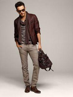 Braune Jacke, Schuhe, Handtaschen, Herren Fashion