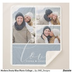 Modern Dusty Blue Photo Collage Love Personalized Sherpa Blanket Blanket Design, Blue Block, Edge Stitch, Its Cold Outside, Anniversary Quotes, Dusty Blue, Artwork Design, Cuddling, Keep It Cleaner