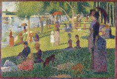 """Study for """"A Sunday on La Grande Jatte"""" by Georges Seurat. Oil on canvas, The painting, which took Seurat two years to complete, is one of the earliest examples of the Pointillism technique. Georges Seurat, Claude Monet, Vincent Van Gogh, Metropolitan Museum, Seurat Paintings, Oil Paintings, Modern Paintings, Ile Saint Louis, Virtual Field Trips"""