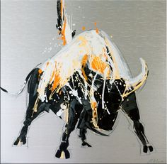 Abstract Bull / Raging Bull II - Acrylic Painting on Canvas - Modern acrylic paintings, antique bronzes and contemporary fiberglass - Visit our sho. Bull Painting, Large Painting, Acrylic Painting Canvas, Buffalo Painting, Bull Tattoos, Geometric Painting, Raging Bull, Animal Sketches, Modern Sculpture