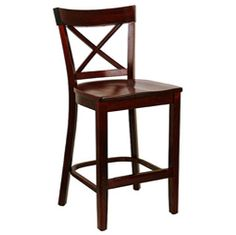X-back Wood Seat Counter Stool