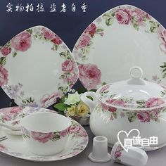 Flower-Ceramic tableware, 56 square gone with fine Palace tableware, Korean style bone China tableware