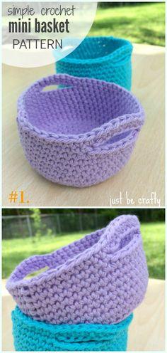 Simple Crochet Mini Basket Free Pattern - Storage #Basket; Free #Crochet; Patterns