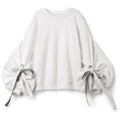 Sweater With Edwardian Sleeves found on Polyvore featuring polyvore, women's fashion, clothing, tops, sweaters, white tops, shirred top, kimono sleeve sweater, drawstring top and white sweaters