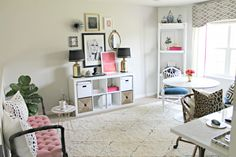 The Office Stylist » Blog Archive » Pop's of Pink + Feminine Chic-Shannon Claire's Home Office Space