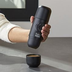 This portable, hand-powered espresso machine brings coffeehouse-quality to the office, campsite or vacation place. To make the perfect cup, place ground beans and hot water into the container. Unlock the piston and pump a few strokes to pressurize and extract the perfect cup of espresso with lots of crema. Compact, integrated design even includes a coffee cup.