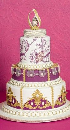 Gold White And Lavendar Wedding Cake Indian Inspired Edith Hall MO