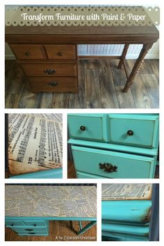 Transform Furniture with Paint & Paper- Love and Happiness by A to Z Custom Creations