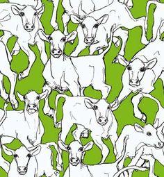 Marimekon Iltavilli-kuosin suunnittelija Miina Äkkijyrkkä  on tullut tutuksi juuri lehmä-aiheisista piirroksista, maalauksista ja veistoksista. - Marimekko Iltavilli wallpaper, design Miina Äkkijyrkkä, who is well-known artist and famous of her cow themed illustrations, paintings and sculptures. #designfromfinland #sinivalkoinenvalinta #marimekko