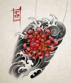 Japanese Flower Tattoo, Japanese Tattoo Designs, Japanese Sleeve Tattoos, Floral Tattoo Design, Flower Tattoo Designs, Flower Tattoos, Traditional Tattoo Art, Traditional Japanese Tattoos, Disney Stitch Tattoo