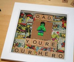 Dad Youre Our Hero Hulk Scrabble Lego Frame
