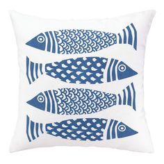 This pillow can live indoors or out, and we love the happy fish pattern. | $56