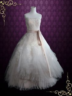Whimsical Strapless Lace Ball Gown Wedding Dress  Eliza