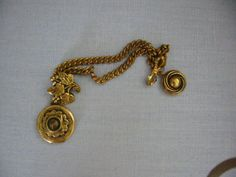 Grape Motif Victorian Nouveau Brass Lockets Brooch Link Chains
