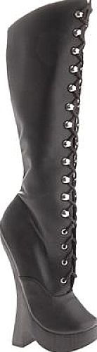 "Devious Women's Shoes in Black Leather Color. The ultimate extension for those who live the lifestyle or those who just wish to spice it up again, Devious offers a fierce line of footwear to ""play"" with. The Femme-2020 boot has a unique 8"" block heel on a 1.25"" platform and lace up knee high boot design."