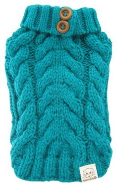 FouFou Dog Urban Knit Sweater, Teal, Medium - Apparel & Accessories