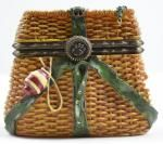Boyds Bears Opie's Creel Basket With Minnow McNibble - Resin Treasure Box