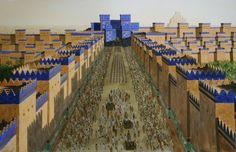 Puerta de Ishtar en Babilonia. Judíos exiliados, después de la primera destrucción de Jerusalén por Nabucodonosor en 586 a.C, entran en la ciudad.    Ishtar Gate in Babylon. Jewish Exiles Enter the City. 586 BC