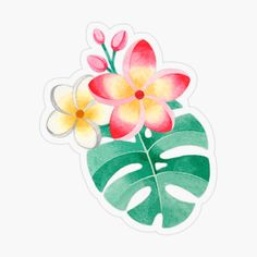 Pink Flamingos Birds, Food Stickers, Doodle Lettering, Backrounds, Tropical Flowers, Transparent Stickers, Glossier Stickers, Projects To Try, Doodles