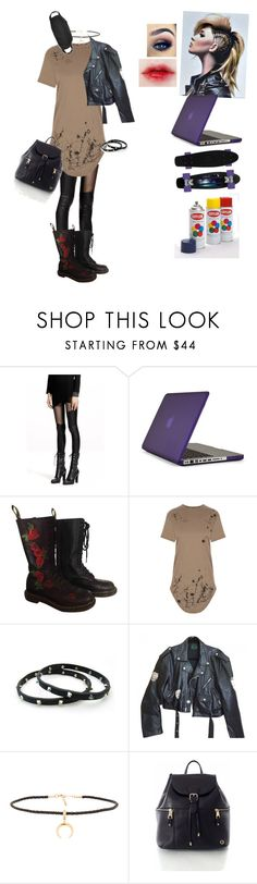 """Hacker and Graffiti Artist"" by carrie-lynn ❤ liked on Polyvore featuring Speck, Dr. Martens, Luis Morais, Jean-Paul Gaultier and Joolz by Martha Calvo"