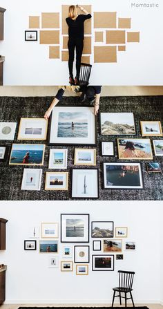Don't go the trial-and-error route (that'll just leave your wall full of random holes). Use kraft paper to map out where each frame should go before you even pull out the hammer. Get the tutorial at Momtastic »  - GoodHousekeeping.com