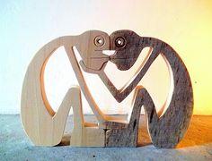"""sculpture bois chantourné """"face à face 2"""""""