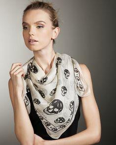 Alexander McQueen Skull-Print Chiffon Scarf - Neiman Marcus