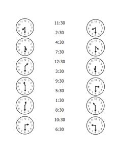 First Grade Time Worksheets: Quarter Hour Practice telling time with this match up worksheet! Kids will work on telling time to the quarter hour. Kindergarten Math Worksheets, 1st Grade Worksheets, 1st Grade Math, Basic Math Worksheets, Clock Worksheets, Math Math, Worksheets For Kids, Math Resources, Teaching Time