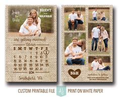 Burlap save the date with photo collage: shop https://www.etsy.com/listing/202153488/burlap-wedding-save-the-date-invite-with