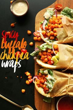 30-minute AMAZING Buffalo Chickpea Wraps! Spicy chickpeas, crispy vegetables, soft pita