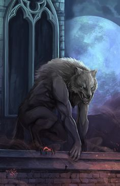 "Goth:  The #Moonstruck ~ ""#Werewolf Woof on the Roof,"" by NightmareMoonLuna, at deviantART."