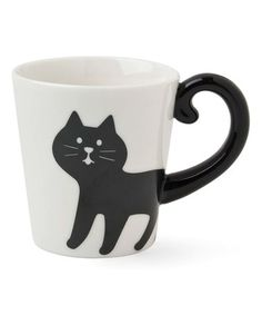 Loving this Black & White Cat Tail Handle Ceramic Mug on #zulily! #zulilyfinds