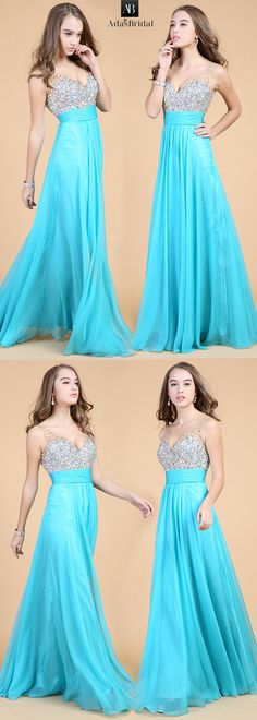 In stock fabulous chiffon v-neck neckline floor length a-line prom dress with beadings. This dress an be dressed for many occasions. (SOD63939) - Adasbridal.com