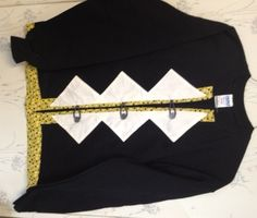 Sweatshirt Cardigan Black  White and Gold  with Polka Dots Size Medium - pinned by pin4etsy.com