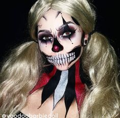 18 Creative Skeleton Makeup Tutorials For The Most Impressive Halloween Costume Horror Makeup, Scary Makeup, Clown Makeup, Costume Makeup, Skull Makeup, Sfx Makeup, Glam Makeup, Halloween Clown, Halloween Inspo