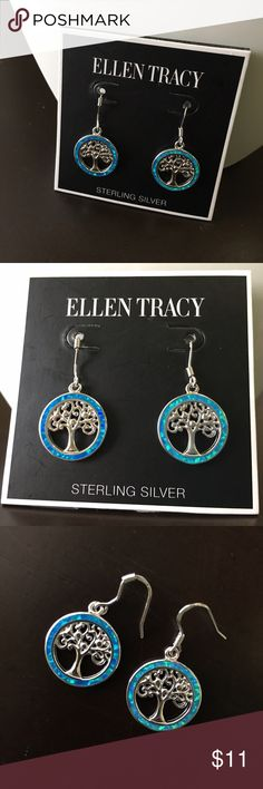 Ellen Tracy Tree of Life Earrings (NWT) Pair of blue/teal gemstone, sterling silver Ellen Tracy Tree of Life earrings. Perfect condition, never worn. NWT. Ellen Tracy Jewelry Earrings
